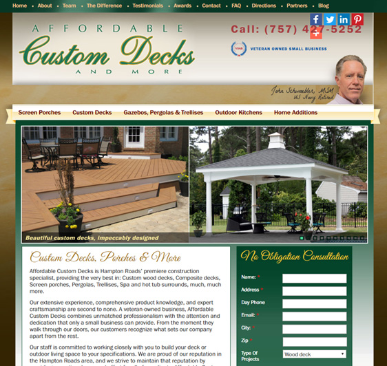Website design for Home Remodeling Company Virginia Beach
